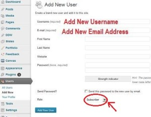 How to add a new admin username to WordPress blog